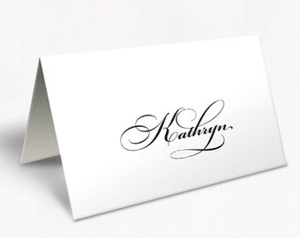 Black and White Wedding Place Cards, Traditional Script Font, Free Colour Changes, DEPOSIT | Peach Perfect Australia