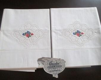 Pair 1950's Overtex Full Standard Size Pillowcase Cut Work Embroidery Drawn Thread Hem