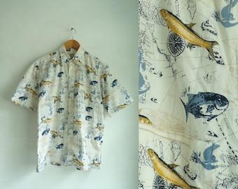 50%offJune27-30 mens fishing shirt size medium, nautical compass map fish shirt, mens button down shirt, cotton 90s maritime boat 1990s