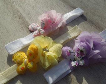 Butterfly Headband, Baby Girl Headband, Soft Headband, Springtime Headband, Butterflies and Flowers, Pink, Yellow, Lavender Headband