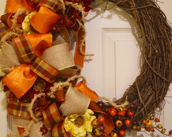 Rustic Fall Grapevine Wreath with Bows, Berries and Flowers; Autumn Wreath Decor; Fall Door Decor; Primitive Rustic Fall Wreath with Berries