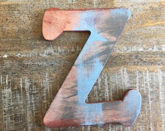 Rustic Letter 'Z' Monogram, Rustic Home Decor, Painted Monogram