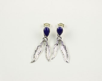 Native American Indian Jewelry Sterling Silver Blue Lapis Feather Dangle Post Earrings