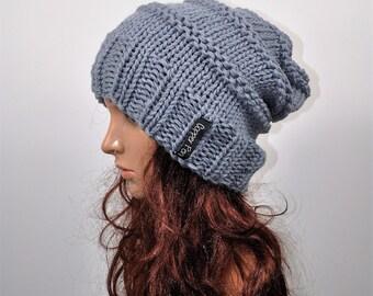 Grey slouch beanie, merino wool slouch hat, woollen beanie, winter hat. Boho hat