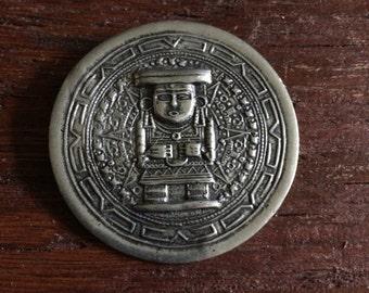 Aztec or Mayan Relic Pendant, Vintage, Handmade