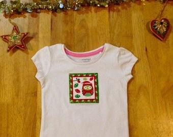 Christmas owl tshirt - girls size 1 yr