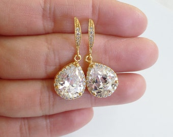 Gold plated AAA cubic zirconia crystal earrings for wedding