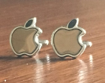 Apple Fruit Cufflinks, Apple Cufflinks, Fruit cufflinks, Silver Apple cufflinks