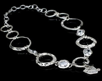 "18' - 20"" Adjustable Solid Sterling Silver Necklace/CZ's/Serenity Circle/Sea Inspired Jewelry."