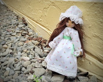 Vintage wooden doll, brunette hand painted country doll