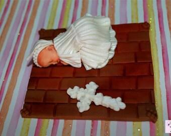 1x Cute Baby Fondant Edible Cake Cupcake Topper 2-3 inch base