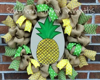 """18"""" Natural Burlap Pineapple Summer Wreath"""