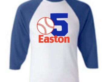 custom personalized baseball vinyl graphic raglan tee baseball birthday shirt boys