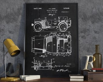 Jeep Patent Print, Willy's Jeep Patent, Wall Art Poster, Military, Vehicle Arm, Home Decor, Jeep Art Print, Historical Print - DA0088