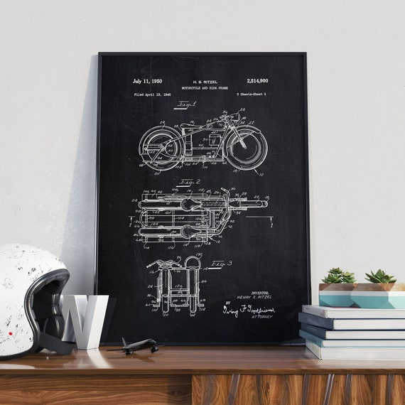 Retro motorcycle patent print motorcycle poster home decor for Motorcycle decorations home