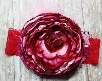Red and Pink Valentines Singed Flower Headband with Ostrich Puff and Heart Center