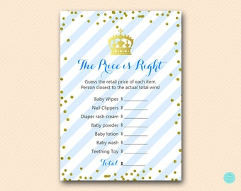 Prince Baby Shower, Price is right, baby shower price tag game, Royal Baby Shower Game Printable, Prince Boy Baby Shower Activities TLC467