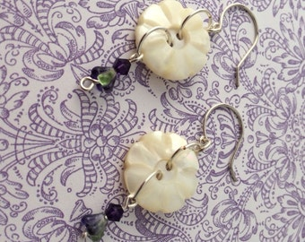 Carved Mother of Pearl Button Earrings
