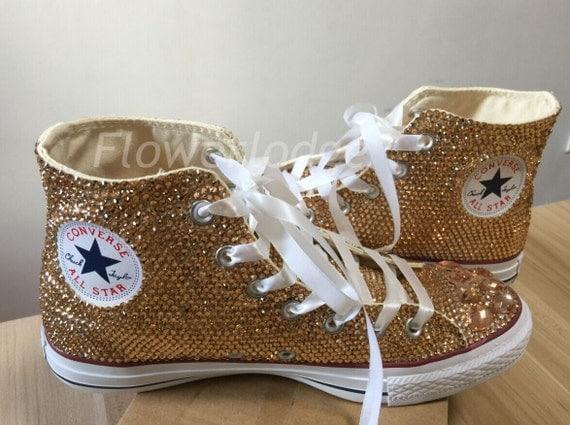 Light Gold Rhinestone Converse Glitter Champagne Shoes High