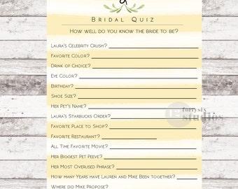 Printable Bridal Shower Quiz