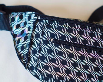 Silver Holographic Iridescent Geometric Honeycomb Fanny Pack Bum Bag Festival Burning Man