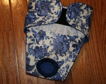 Female dog diaper, Panties, dog Britches, nappies.  Washable Heat cycle,incontinence - Blue Floral Paisley  - by angelpuppi