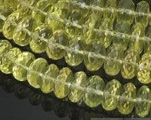 "HIZE GLQ01 Natural Lemon Quartz Faceted Rondelle Roller Pumpkin Beads 10mm (8"")"