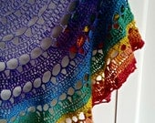 Rainbow Crochet Shawl| Merino sparkle| Hand dyed Yarn| Winter scarf| Spring wrap| Valentine gift, mothers day