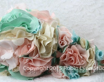 Vintage Fabric Cascade Wedding Bouquet/ Toss Bouquet Set/Peach,Mint,Pastel Colors,Spring,Summer