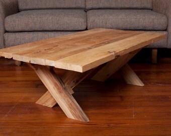 Oak coffee table.  Recycled oak slat