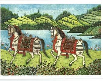Indian horses. Fine art card