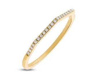 4 Sided Geometric Flat Round Diamond 14K White, Yellow, or Rose Gold Band Ring