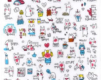 Sticker - Kawaii Korean Emoji Decal Sticker Series (3pcs) | Kawaii Stationery Korean Stationery Planner Stickers