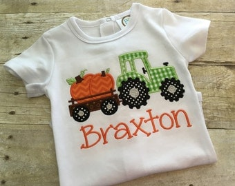 Pumpkin tractor shirt - boys fall shirt - tractor pumpkin shirt - fall tractor shirt - boys halloween shirt - boys Thanksgiving outfit