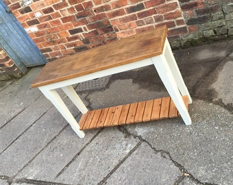 Reclaimed wood console table with bottom shelf. Hallway, painted base & storage. Made to measure bespoke sideboard modern rustic shabby chic