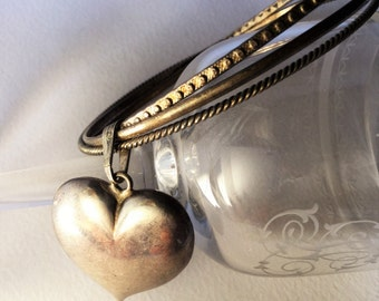 Vintage very nice sterling silver lot of bangles and puffy heart charms, Edwardian jewels, Edwardian bracelet, antique bracelet