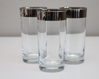 Dorothy Thorpe Silver Band High Ball Glasses, Set Of 3.