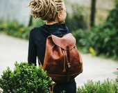Leather backpack Woman backpack Ladies backpack Backpac by Kruk Garage Women's daily pack Small backpack Christmas gift FREE PERSONALIZATION