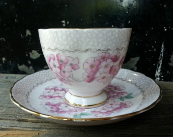 Pretty pink and gray art deco Plant Tuscan vintage tea cup and saucer from the 1930's