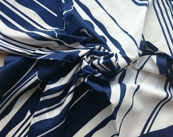 French 'tergal UP' Vintage Square Polyester Scarf - Retro with White and Navy Flowers and Stripes - Unused and Perfect From 1970s Stock