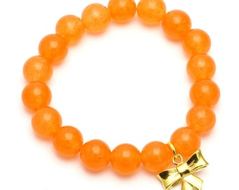 Jade Beaded Bracelet with Sterling Silver Charm, Unique only 1 piece available! , color orange, #42418