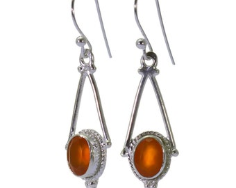Carnelian Earrings, 925 Sterling Silver, Unique only 1 piece available! color orange, weight 2.6g, #40137