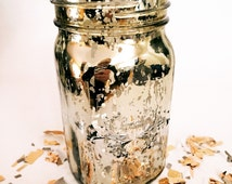 Gold Mercury Mason Jar Set of 4 -  Or Silver Mercury, Perfect for a Table Decor Centerpiece for Wedding or NYE