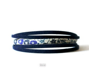 Multi-row bracelet liberty Blue Suede