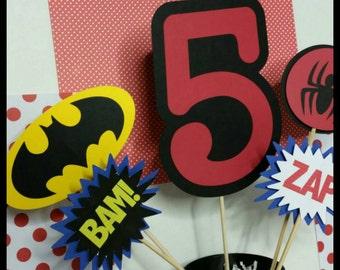 5 pc Superhero Themed Centerpiece, Superhero Centerpiece, Superhero Cake Toppers