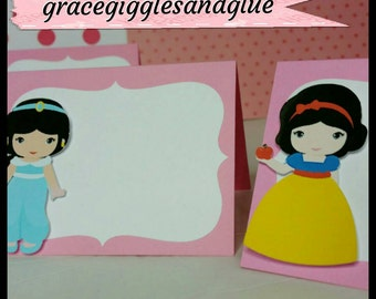 10 Princess Themed Placecards, Princess Food Tents,