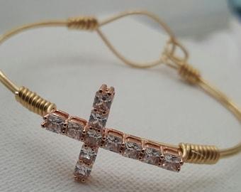 Swaroski Crystal Cross Cuff Gold