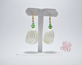 Earrings Natural Silk Cocoons Cluster Earrings with Peridot Swarovski Crystals Accesories Gift Woman Cluster Handmade