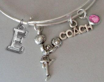 CHEERLEADER Coach Bangle  -w/ Birthstone Adjustable Bangle / Gift For Her / Under Twenty Usa D1