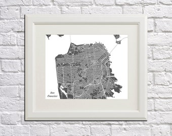 San Francisco Street Map Print Map of San Francisco City Street Map California Poster City Art 7013